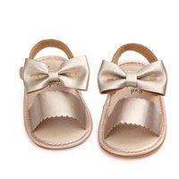 sapatas pequenas do verão do bebé venda por atacado-Princesa Bebê Recém-nascido Meninas Sandálias de Verão Bonito Bowknot PU Criança Crianças Sapatos Sola Macia Little Girls Sandálias Sapatos