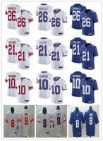 ingrosso ny blu jersey-NY degli uomini delle donne della gioventù 26 Saquon Barkley 10 Eli Manning 21 Landon Collins 8 Daniel Jones blu bianco personalizzato Gigante Calcio Maglie