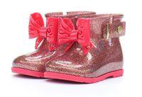 schuhe tragen regen großhandel-Kleinkind Kinder Sugar RainBoots für Mädchen Jungen Wasserdichter Gummibogen Regenstiefel Schuh Einfach zu tragen GRÖSSE 6-11