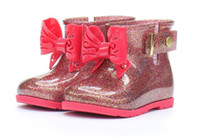 ingrosso ragazze scarpe in gomma-Toddler Kids Sugar RainBoots for Girls Boys Impermeabile in gomma con fiocco Stivali da pioggia Scarpa facile da indossare TAGLIA 6-11