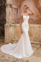 Wholesale vestidos novia mermaid wedding gowns resale online - beach Mermaid Wedding Dresses V Neck Sleeveless Backless Open Back Floor Long Satin Wedding Dresses Bridal Gowns Vestidos de novia BC3058