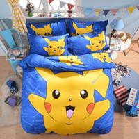 ingrosso biancheria da letto viola blu-Home Textile 3D Cute Cartoon Pikachu Stampa Biancheria da letto Set Copripiumino Lenzuolo Biancheria da letto Biancheria da letto