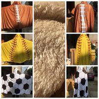 Wholesale designed cloak online - 150 CM Blanket Hooded BlanketS Sports Baseball Softball Football Pattern Fleece Throw Wearable Blankets Cloak design KKA6092