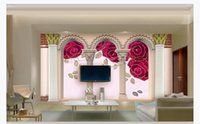 hoja de oro de china al por mayor-3D personalizado gran mural de papel tapiz fotográfico Red rose gold leaf Roman column arches European 3D living room bedroom background wall painting
