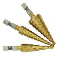 cortadores de passo venda por atacado-3 pcs HSS Titanium Revestido Passo Broca para Metal Fresa 3-12mm4-12mm4-20mm Alta Velocidade Ferramentas De Poder De Perfuração De Madeira de Aço