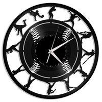 beyzbol süslemeleri toptan satış-Beyzbol Vinil Duvar Saati | Spor severler için benzersiz bir hediye | Ev Odası Dekorasyonu