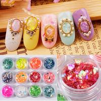 12 Color Set Nail Art Decoration Ornament Irregular Shell Glitter Powder Cellophane Paper Sequin Manicure Sticker Design DIY Tip