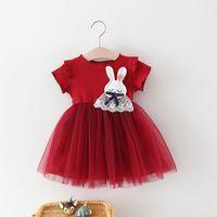 Wholesale korean baby knitted clothes online - Baby girl dresses Summer Korean Knitted Cartoon Rabbit Patchwork Princess Dress girl dress kids designer clothes girls Children boutique