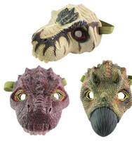 vestido de animal adulto al por mayor-Máscaras de fiesta de dinosaurio de látex Máscaras de animales de dibujos animados de disfraces de Halloween para niños adultos Sombreros Vestir Apoyos