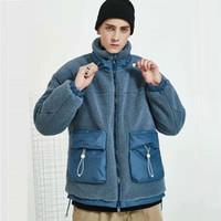ingrosso cappotto invernale albicocca-giacche di lana giacca di pelliccia di lusso agnello invernali progettista mens per gli uomini di eco-pelliccia streetwear pile cappotto albicocca blu di spessore cappotti morbidi amante S-XL