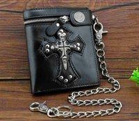 crânes portefeuille noir achat en gros de-New Rock Punk Skulls Cross Money Portefeuille En Cuir Noir Pour Hommes Avec Une Chaîne Cool # 302702