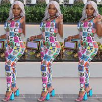 Wholesale one piece block resale online - Designer Women Jumpsuits Fashion Colored Block Suspenders Jumpsuit Rainbow Letters One Piece Tank Top Vest Legging Romper Party Cloth C61702