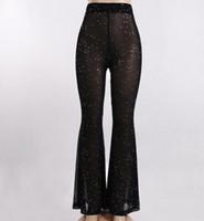 lampadaire design achat en gros de-Femmes Designer Pantalons Rue Casual Light Mesh avec Faits saillants Pantalons 2019 De Luxe D'été Pantalon À Jambe Large Femmes Nouvelle Arrivée