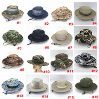 Wholesale boonie hats resale online - Foldable Army Bucket Hat Sport outdoor mesh Camouflage Jungle Military Cap Adults Men Women Cowboy Boonie Hats For Fishing LJJA3704