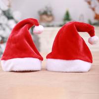 plüschkappen großhandel-Erwachsene Kinder Größe Weihnachten Caps rote Farbe Plüsch X'mas Party Weihnachtsmann Hüte Urlaub Zubehör Weihnachtsdekoration Hut 2size RRA2012