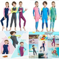 Wholesale comfortable baby girl clothes resale online - Summer Kids Jumpsuits Swimwears Diving Swimsuit Long Sleeves Children boys Girls Surfing romper soft warm Comfortable baby Clothing dc469
