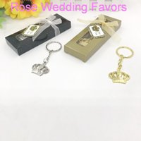 Wholesale babies giveaways for sale - Group buy Baby Christening Giveaway Silver Gold Crown Key Chain in Gift Box Imperial Crown Keychain Favors