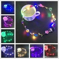 Wholesale glowing light toys for sale - Group buy Flashing LED strings Glow Flower Crown Headbands Light Party Rave Floral Hair Garland Luminous Wreath Wedding Flower Girl kids toys