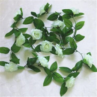 Wholesale rose wall hanging resale online - Artificial Flowers Hanging Rattan Rose vine Fake Silk Roses Ivy Vine Fake Flowers Home Wedding Garden Decoration SSA237