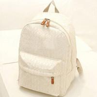 dantel tuval çantası sırt çantası toptan satış-Dantel Sırt Çantası Öğrenci Kadın Omuz Çantaları Okul Çantaları Genç Kızlar Için Kadın Tuval Sırt Çantası Fermuar Seyahat Çantası