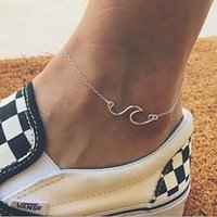 Wholesale Bohemian Geometry Wave Anklets Women Fashion Gold Silver Color Charm Anklet Foot Bracelet Beach Jewelry