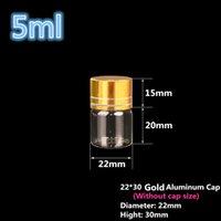tampão do ouro das garrafas de óleo venda por atacado-pequenos frascos de vidro com prata / tampa de alumínio ouro 22 * 30 milímetros frasco de 5ml Mini garrafas de vidro Essential Oil vidro 200pcs frete grátis