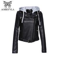 ingrosso cappuccio in pelle giacca-AORRYVLA Gothic Faux Leather Jacket Donna Felpe Primavera Autunno Biker Jacket Cap rimovibile Capispalla in pelle nera