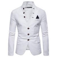invitaciones de boda cajas chinas al por mayor-Traje casual de cuello redondo para hombre de los hombres 2019 para hombre ropa gótica blazer chaqueta para hombre