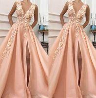 haifa langes kleid großhandel-2019 a-line v-ausschnitt hohe aufgeschlitzte blumen abendkleider lange spitze abendkleid formale abend party dress
