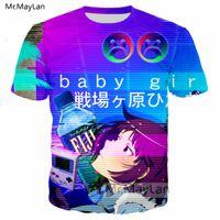 ropa de bebé niña hip hop al por mayor-Vaporwave 3D Imprimir Anime Baby Girl Fiji Agua Camiseta Hombres / mujeres Harajuku Camiseta Hip Hop Steetwear Camiseta Hombre Kawaii Ropa 5XL