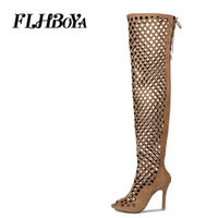 Wholesale brown peep toe sandals resale online - FLHBOYA Summer Women Frosted Knee High Thigh Rome Boots Ladies Sandals Hollow Lace up Peep Toe Zipper long Shoes Big size