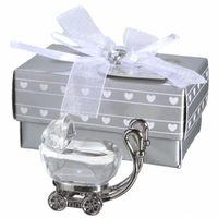 souvenir de bébé en cristal achat en gros de-Cristal Indien De Douche De Faveur Cadeaux Pour Invité Cristal Chariot Présent Fête Favors Souvenir De Bébé EEA405