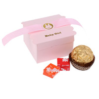 Wholesale baby christening boxes for sale - Group buy 50pcs Lovely Paper Bear Baby Boy Sweet Candy Chocolate Boxes with Satin Ribbon for Baby Christening Baby Shower Decor