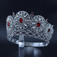 ingrosso pietre rosse delle corone nuziali-Miss Beauty Crowns per concorso di concorsi Scaffali temporanei personalizzati personalizzati Cerchi rotondi Diademi nuziali Matrimonio Pietra rossa Mo228