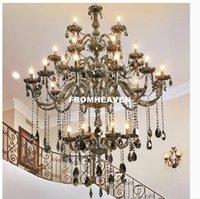 moderno lustre livingroom venda por atacado-Modern Smokey 30L D120cm H170cm candelabro de cristal Iluminação Para Sala Quarto Interior Teto lâmpada K9 cristal Lustres De Teto Candelabro