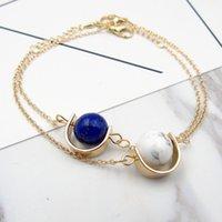 weiße metallarmbänder großhandel-Luxus Design Womens Lieblings Geschenk natürlichen weißen und blauen Stein Bettelarmband Metallkette Armband zum Verkauf