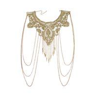 halskette taille großhandel-Frauen-Goldquasten-Bikini-Überkreuz-Geschirr-Taillen-Bauch-Körper-Ketten-Halsketten-Blumenblumenguipure-Kragen-Spitze-Ordnung gestickt