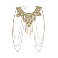 işlemeli dantel kesimi toptan satış-Kadınlar Altın Püsküller Bikini Crossover Demeti Bel Göbek Vücut Zincir Kolye Çiçek Çiçek Gipür Yaka Dantel Trim Işlemeli