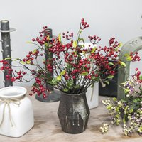 buquê vermelho preto venda por atacado-1Pcs preto / vermelho / cor roxa 45 centímetros DIY Falso romã Bagas Artificial cereja Bouquet para o Natal Decoração