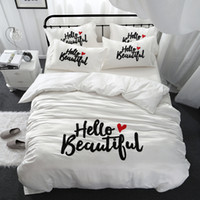 Wholesale beautiful king size bedding for sale - Girls women beautiful bedding set king queen size bed linen Cotton imitate silk white color thick embroidered bedclothes