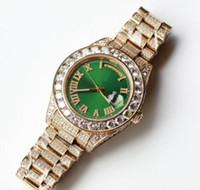 relógio apedrejado venda por atacado-Completa Diamantes de Luxo de Ouro Relógios Homens 43 MM Big Pedras Bisel 316L Dia Varredura Automática Data Assista de Alta Qualidade Definir Diamante relógio de Pulso