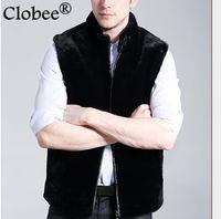 siyah mink coat erkek toptan satış-2019 Vetement Zarif kürk erkekler Kolsuz Siyah erkek Faux Kürk Yelek Coat Sonbahar Kış Kalın Ucuz Vizon Ceket V549