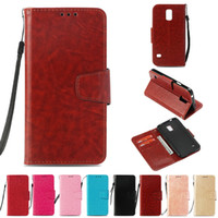 Wholesale galaxy s5 flip wallet resale online - PU Wallet Case For Samsung Galaxy S5 Case Cover for Samsung I9600 Flip Cover Kickstand Case with Card Pocket