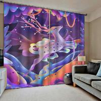 cortinas finas al por mayor-Cortinas de ventanas de ciervos coloridas 3D finas para niños Adultos Sala de estar Dormitorio Cortinas de cocina Cortinas Dropship personalizado