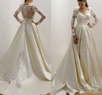 Wholesale sexy vintage ivory wedding dresses for sale - Group buy Stunning Lace Applique V Neck Satin Bride Gowns Vintage A Line Sheer Long Sleeves Button Wedding Bridal Dress