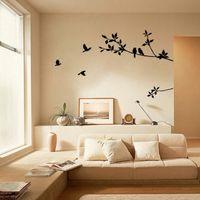 duvar çıkartması siyah dal toptan satış-Ağaç Dalı Siyah Kuş Sanat Duvar Çıkartmaları Çıkarılabilir Vinil Çıkartması Ev Duvar Çıkartmaları Ev Dekor # Y9