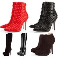 yüksek önyükleme sivri uçları toptan satış-Kış Tasarımcı Ayakkabı sneaker Yani Kate Spike Yüksek Topuklu Yarım Diz Ayak Bileği çizmeler Kırmızı Lüks Dipleri 8 10 12 14 CM moda boyutu 35-42