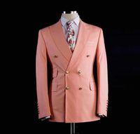 erkekler için pembe smokinler toptan satış-Yeni Varış Pembe Erkek Groomsmen Düğün Suits Erkekler Için Slim Fit Smokin Custom Made Balo Suit İki Adet (Ceket + pantolon)