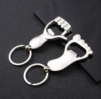 Wholesale stainless thumb ring resale online - DHL Silver Thumb Hand Metal Keychain Key Ring Beer Bottle Opener Wedding Gift Kitchen Bar Tools SN2292