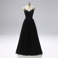 Wholesale best long black evening dresses resale online - Best Selling Sexy Spaghetti Strap Black Prom Dresses Evening Dress New Real Photos Long Satin Tulle Formal Evening Party Gowns